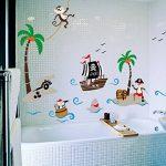 ufengke Bande Dessinée Bateau Pirate Singe Pirate Île de Noix de Coco Stickers Muraux, La Chambre des Enfants Pépinière Autocollants Amovibles de la marque ufengke-décor image 1 produit