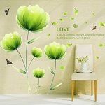 Ufengke® Belles Fleurs Vertes Stickers Muraux,Salon Salle De Séjour Chambre À Coucher Décalcomanies Murales Autocollants Amovibles de la marque ufengke-décor image 2 produit