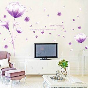 Ufengke® Belles Fleurs Violets Stickers Muraux,Salon Salle De Séjour Chambre À Coucher Décalcomanies Murales Autocollants Amovibles de la marque ufengke-décor image 0 produit