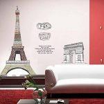 ufengke® Célèbre Tour Eiffel Série de Bâtiments de Paris et l'Arc de Triomphe Stickers Muraux, Salle de Séjour Chambre à Coucher Autocollants Amovibles de la marque ufengke-décor image 4 produit