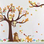 Ufengke® Dessin Animé Forêt Animaux Hibou Singe Ours Arbre Stickers Muraux,La Chambre Des Enfants Pépinière Autocollants Amovibles de la marque ufengke-décor image 3 produit