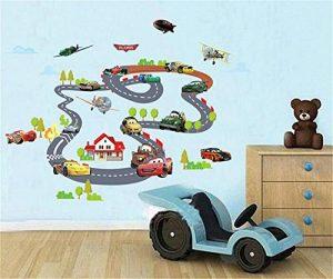 ufengke Dessin Animé Voiture de Course Avion Stickers Muraux, La Chambre des Enfants Pépinière Autocollants Amovibles de la marque ufengke-décor image 0 produit