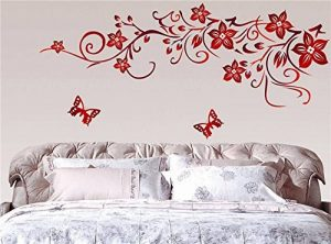 ufengke® Fleur de Vigne Rouge et Papillons Stickers Muraux, Salle de Séjour Chambre à Coucher Autocollants Amovibles de la marque ufengke-décor image 0 produit