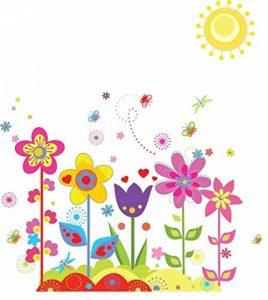 ufengke® Fleurs Colorées Mignon Papillons Soleil Stickers Muraux, La Chambre des Enfants Pépinière Autocollants Amovibles de la marque ufengke-décor image 0 produit