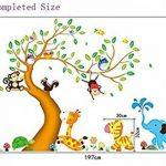 ufengke® Heureux Cartoon Arbre Animal Avec Owl Singes Zèbre Girafe Stickers Muraux, Chambre d'Enfant Pépinière Décalcomanies Murales Autocollants Amovibles de la marque ufengke-décor image 3 produit