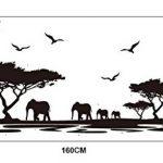 ufengke home Stickers Muraux Silhouette de Safari Africain Autocollant Mural Arbres Éléphant Girafe Oiseaux Antelope Noir Décoration Amovible DIY Vinyle Mural Art Stickers pour Salon, Chambre de la marque ufengke home image 1 produit