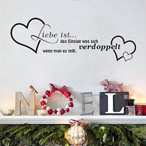 """ufengke® """"Liebe ist"""" Amour Stickers Muraux de Citations et Proverbes, Salon Salle de Séjour Chambre à Coucher Décalcomanies Murales Autocollants Amovibles de la marque ufengke-décor image 0 produit"""