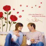 ufengke - motif : roses - Sticker mural pour chambre à coucher/salon - Décoration murale amovible de la marque ufengke-décor image 1 produit