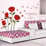 ufengke - motif : roses - Sticker mural pour chambre à coucher/salon - Décoration murale amovible de la marque ufengke-décor image 2 produit