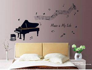 ufengke® Noir Piano et Notes de Musique Stickers Muraux, Salle de Séjour Chambre à Coucher Autocollants Amovibles de la marque ufengke-décor image 0 produit