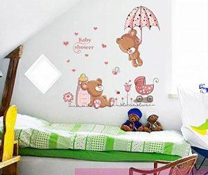 ufengke® Ours Mignons de Bébé et Parapluie Fleurs Stickers Muraux, La Chambre des Enfants Pépinière Autocollants Amovibles de la marque ufengke-décor image 0 produit