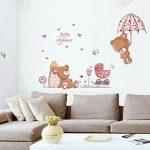 ufengke® Ours Mignons de Bébé et Parapluie Fleurs Stickers Muraux, La Chambre des Enfants Pépinière Autocollants Amovibles de la marque ufengke-décor image 1 produit