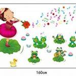 ufengke® Petite Fille Jouant de la Musique et Mignon Grenouilles Stickers Muraux, la Chambre des Enfants Pépinière Autocollants Amovibles de la marque ufengke-décor image 2 produit