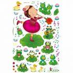 ufengke® Petite Fille Jouant de la Musique et Mignon Grenouilles Stickers Muraux, la Chambre des Enfants Pépinière Autocollants Amovibles de la marque ufengke-décor image 3 produit