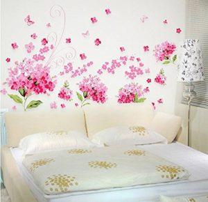 ufengke® Romantique Rose Fleurs d'Hortensia Stickers muraux, chambre à coucher salon stickers muraux amovibles/stickers muraux/Décoration murale, L de la marque ufengke-décor image 0 produit