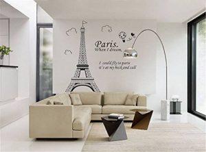 ufengke Simple Élégant Paris Tour Eiffel Point de Repère Stickers Muraux, Salle de Séjour Chambre À Coucher Autocollants Amovibles de la marque ufengke-décor image 0 produit