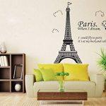 ufengke Simple Élégant Paris Tour Eiffel Point de Repère Stickers Muraux, Salle de Séjour Chambre À Coucher Autocollants Amovibles de la marque ufengke-décor image 1 produit