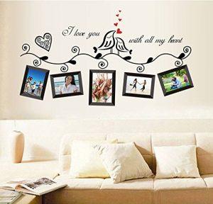 ufengke Sticker mural pour chambre à coucher/salon Décoration murale amovible Cadre photo Motif oiseaux Thème amour romantique Noir de la marque ufengke-décor image 0 produit