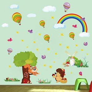 ufengke Stickers Muraux Animaux de Forêt Autocollant Mural Arbre Arc en Ciel pour Chambre Enfant Décoration Murale de la marque ufengke home image 0 produit