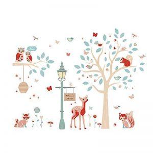 ufengke Stickers Muraux Animaux de la Forêt Autocollant Mural Arbre Cerf pour Chambre Enfants Bébé Décoration Murale de la marque ufengke home image 0 produit