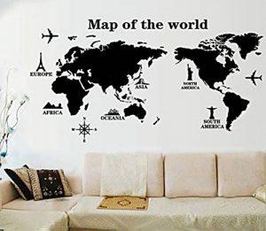 """ufengke® """"Tour du Monde"""" Carte du Monde Stickers Muraux, Salle de Séjour Chambre à Coucher Autocollants Amovibles, A de la marque ufengke-décor image 0 produit"""