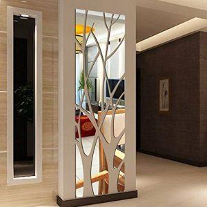 Upxiang Stickers Miroir Muraux Arbre Acrylique Amovible Imperméable Salle de Bains Fenêtre Décor Cuisine Chambre Meubles Décoration Murale Papier Peint (Argent) de la marque Upxiang image 0 produit