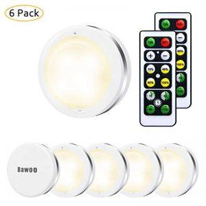 Veilleuses LED Lampes de Placard Murale Sans Fils Avec Télécommandes Bawoo 6pcs Lampes Armoire pour Escalier Miroir Cuisine Vitrines Cabinet de la marque Bawoo image 0 produit