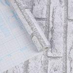 Vintage 45cmx10M Papier Peint Auto-Adhésif Trompe l'oeil Stickers Autocollant Muraux Décoration Murale pour Chambre Salon Meuble, Brique Blanche de la marque Junxave image 2 produit