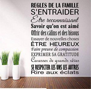 Vinyle Français Règles De Famille Art Décor À La Maison Autocollant Mural Imperméable Amovible Salon Chambre Stickers Muraux 86 * 58 Cm de la marque OJVVOP image 0 produit