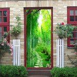 Vosarea 3D Papier Peint Porte Autocollant Murales Adhésif Amovible Bambou Sentier Art de Porte Décoration Maison de la marque Vosarea image 1 produit