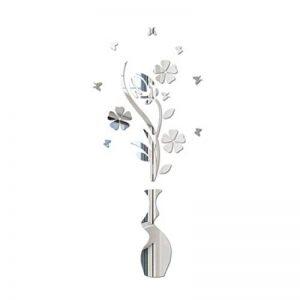 Vosarea Sticker Mural 3D Acrylique et Fleur Vase Autocollant Miroir Stickers muraux respectueux de l'environnement pour Chambre Salon Salle de Bain décoration (Argent) de la marque Vosarea image 0 produit
