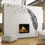 Vovotrade New Feather Chambre Autocollant Mural Oiseaux Accueil Decal Mural Art Decor Noir de la marque Vovotrade® image 1 produit