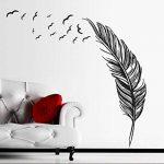 Vovotrade New Feather Chambre Autocollant Mural Oiseaux Accueil Decal Mural Art Decor Noir de la marque Vovotrade® image 2 produit
