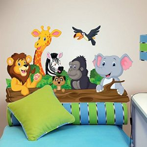 wall art R00145 Sticker Mural Enfant Animaux de la Jungle, Papier Peint Multicolore, 100 x 30 cm de la marque wall-art image 0 produit