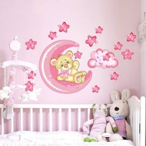 wall art R00317 Sticker Mural pour Enfant Motif: Ourson et Lune, Bonne Nuit 60x40x0,1cm Rose/Multicolore de la marque wall-art image 0 produit