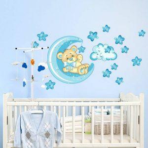 wall art R00318 Stickers muraux pour Enfants Motif Petit Ours Bonne Nuit Lune Multicolore/Bleu 60x 40x 0,1cm de la marque wall-art image 0 produit