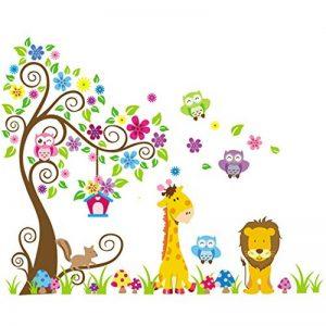 Wall Decal Stickers muraux pour chambre de bébé à motifs jungle avec lion / girafe / écureuil / chouette et arbre coloré de la marque VINOOL image 0 produit