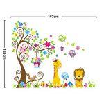 Wall Decal Stickers muraux pour chambre de bébé à motifs jungle avec lion / girafe / écureuil / chouette et arbre coloré de la marque VINOOL image 1 produit