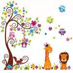Wall Decal Stickers muraux pour chambre de bébé à motifs jungle avec lion / girafe / écureuil / chouette et arbre coloré de la marque VINOOL image 4 produit