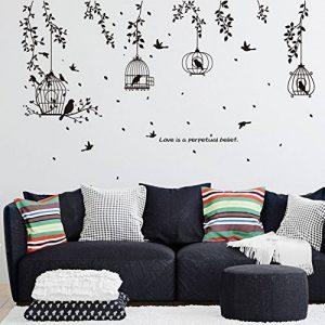 Wallpark Noir Cage à Oiseaux Feuille Vigne Noir Silhouette Amovible Stickers Muraux Autocollants, Salon Chambre Maison DIY Décoratif Adhésif Stickers Mural de la marque Wallpark image 0 produit
