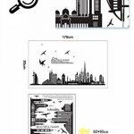 Wallpark Noir Ville Silhouette Paysage Urbain Gratte-Ciel & Volant Oiseau Amovible Stickers Muraux Autocollants, Salon Chambre Maison DIY Décoratif Adhésif Stickers Mural de la marque Wallpark image 4 produit