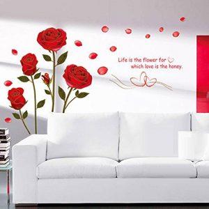Wallpark Romantique Beau Rouge Rose Fleur Amovible Stickers Muraux Autocollants, Salon Chambre Maison DIY Décoratif Adhésif Stickers Mural de la marque Wallpark image 0 produit