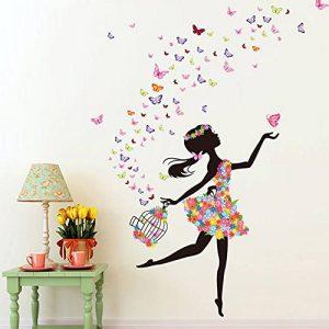 Wallpark Romantique Dansant Fille Fleur Fée Papillon Amovible Stickers Muraux Autocollants, Enfants Bébé Chambre Pépinière DIY Décoratif Adhésif Stickers Mural de la marque Wallpark image 0 produit