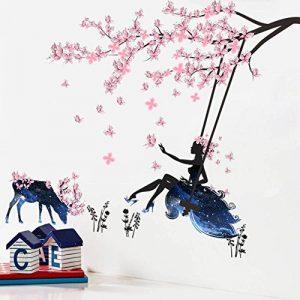 Wallpark Romantique Rose Papillon Fleur Arbre Balançoire Fleur Fée Fille en Bleu Étoilé Ciel Jupe Amovible Stickers Muraux Autocollants, Enfants Bébé Chambre Pépinière DIY Décoratif Stickers Mural de la marque Wallpark image 0 produit