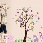 WallStickers Decal Sticker mural joli singe dans la jungle et hiboux sur un arbre h: 1,40 m x l: 2,20 m de la marque WallStickersDecal image 2 produit