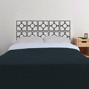 WallsUp Graz Design Sticker Mural décoratif en métal Motif tête de lit, tête de lit, Abstrait géométrique avec carrés et Cercles, Vinyle, Noir, 31 hx76 w de la marque WallsUp image 0 produit