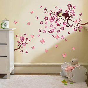 Walplus Stickers muraux 3D pour chambre d'enfant Papillons/fleurs Rose de la marque WALPLUS image 0 produit