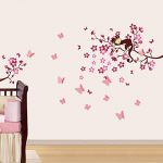 Walplus Stickers muraux 3D pour chambre d'enfant Papillons/fleurs Rose de la marque WALPLUS image 1 produit