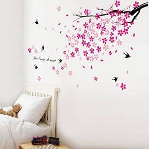 Walplus Stickers muraux fleurs roses/hirondelles/décor pour chambre d'enfants de la marque WALPLUS image 0 produit