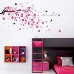 Walplus Stickers muraux fleurs roses/hirondelles/décor pour chambre d'enfants de la marque WALPLUS image 1 produit